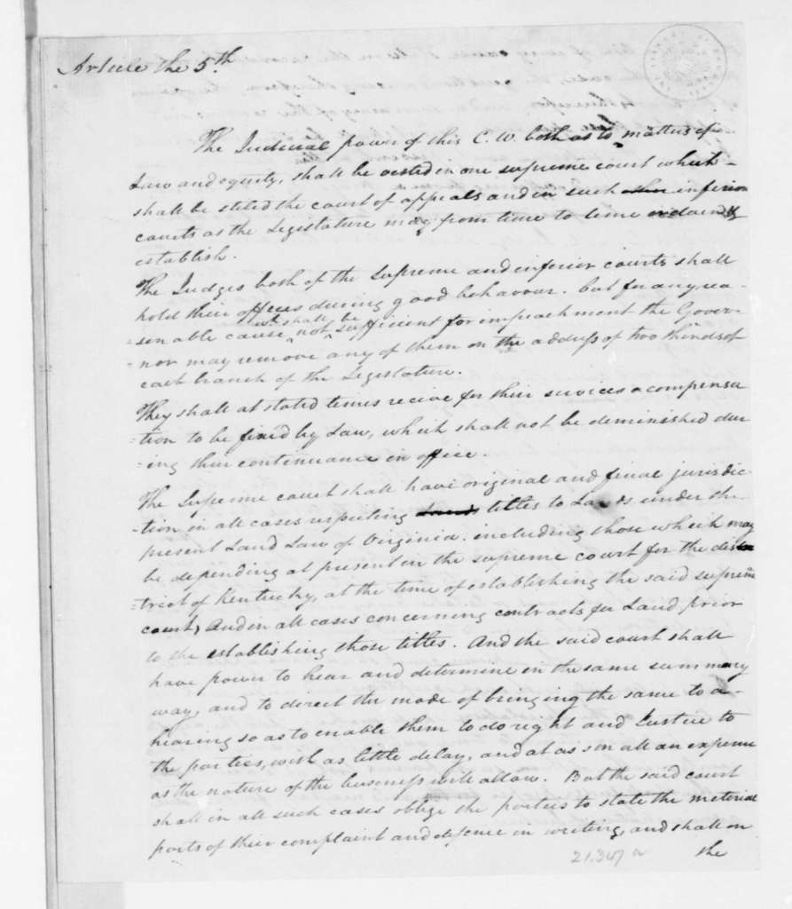 Hubbard Taylor to James Madison, May 8, 1792. a copy of Article 5 of the Kentucky Constitution.
