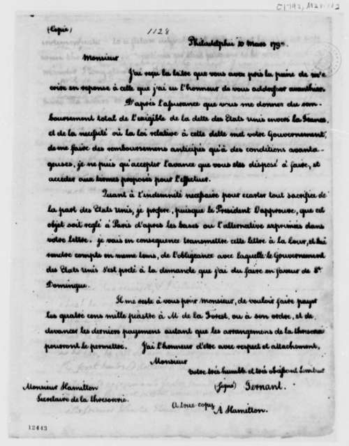 J. B. Ternant to Alexander Hamilton, March 10, 1792, in French