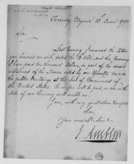 Jacquelin Ambler to Thomas Jefferson, December 10, 1792