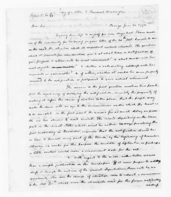 James Madison, June 21, 1792. Copy of letter to President Washington.