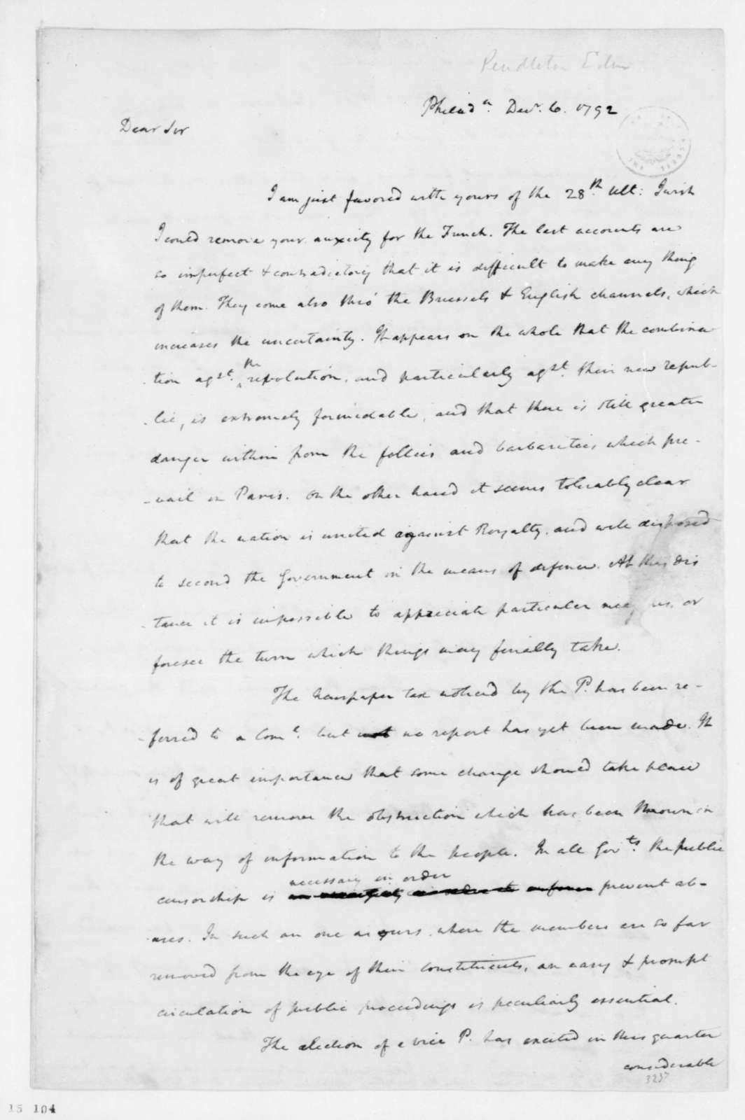 James Madison to Edmund Pendleton, December 6, 1792.