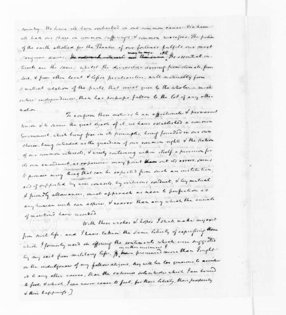 James Madison to George Washington, June 21, 1792. Draft of Address, Washington's Farewell.