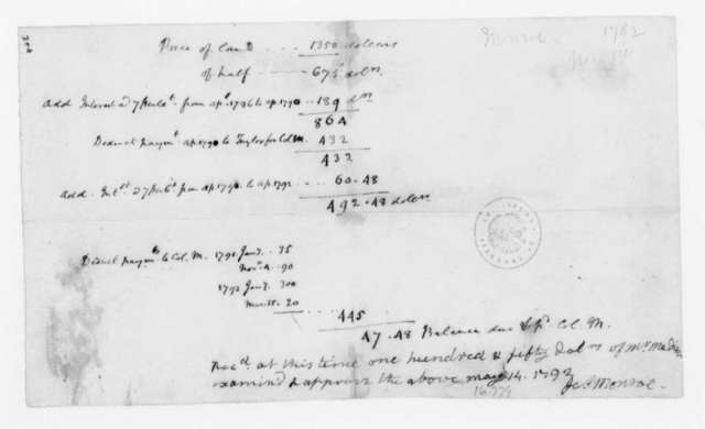 James Monroe to James Madison?, May 14, 1792. Receipted Bill, Expenses.