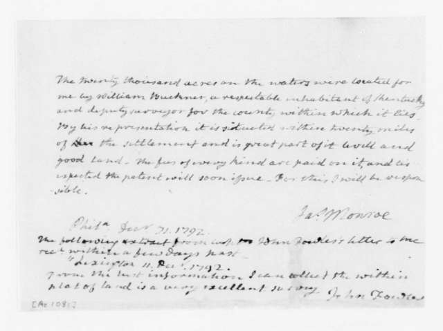 James Monroe to Unknown, December 31, 1792. Fragment & extract from John Fowler.