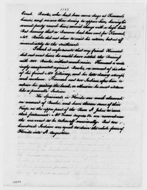 James Seagrove to Henry Knox, January 14, 1792, Extract