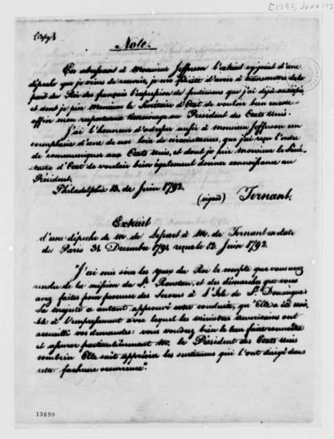 Jean Baptiste Ternant to Thomas Jefferson, June 13, 1792, with Extract in French