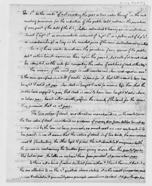 John Jay, March 31, 1792, Memorandum on Monetary Value