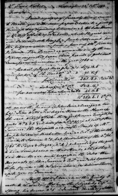 John Morghan to David Walker, October 22, 1792