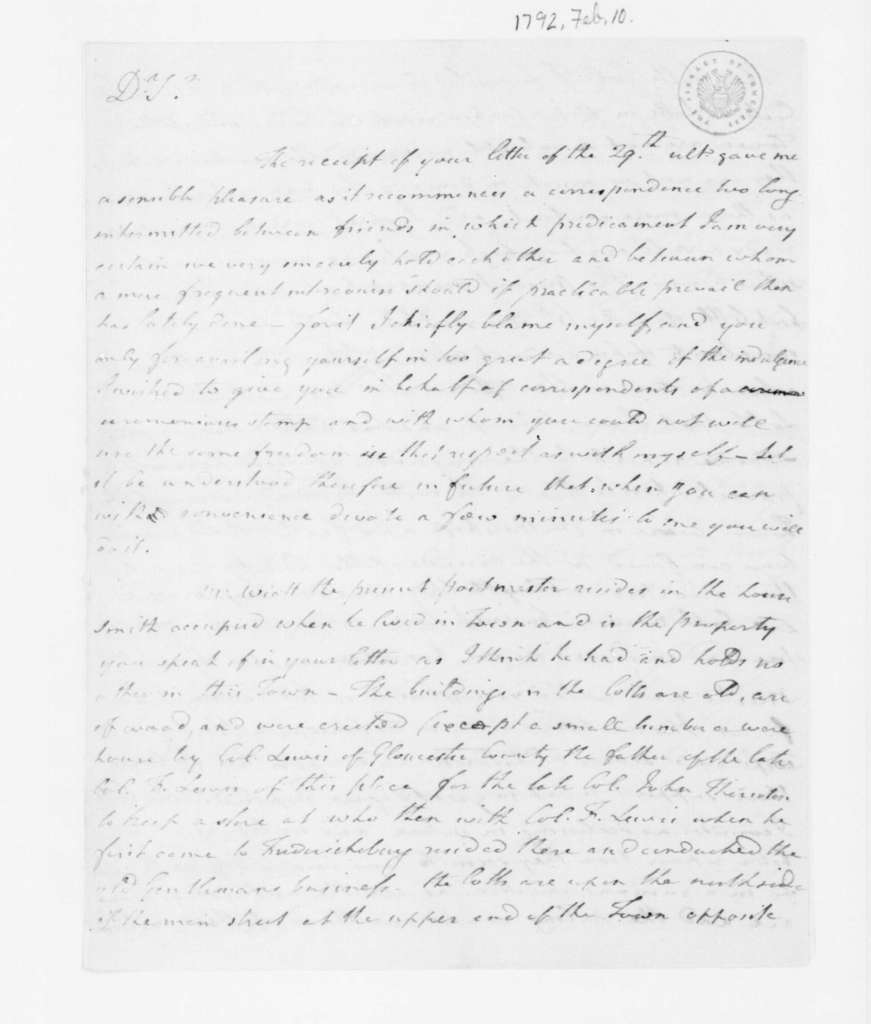 Joseph Jones to James Madison, February 10, 1792.