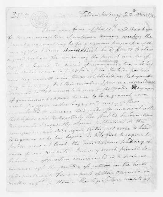 Joseph Jones to James Madison, March 22, 1792.