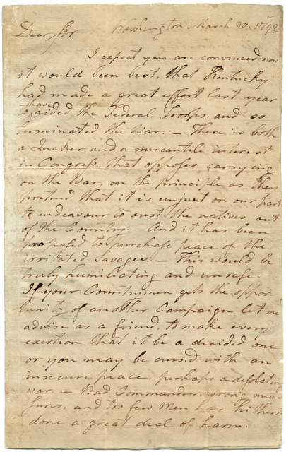 Letter from Arthur Campbell to Isaac Shelby