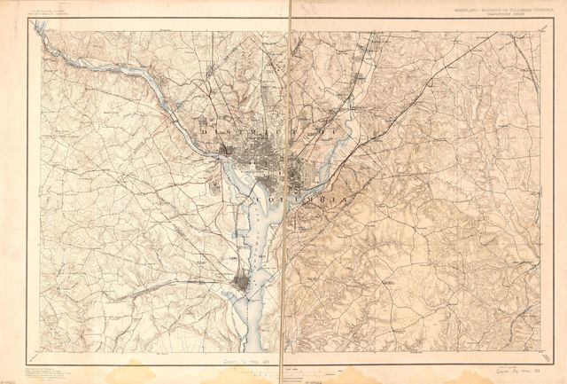[Map of Washington D.C. metropolitan area showing roads and ferries as of 1792].
