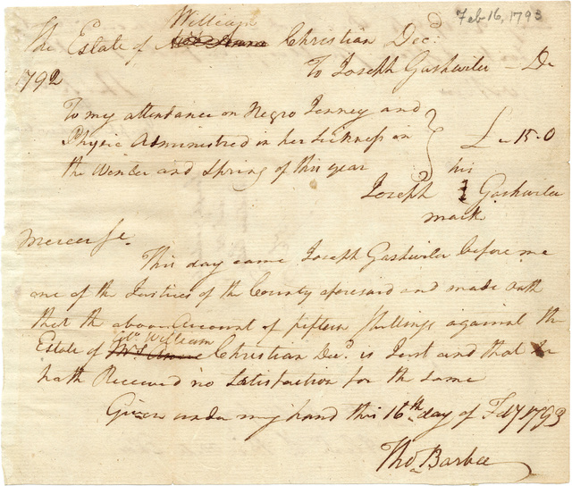 Medical bill from Joseph Gashwiler to the executors of William Christian's estate with receipt