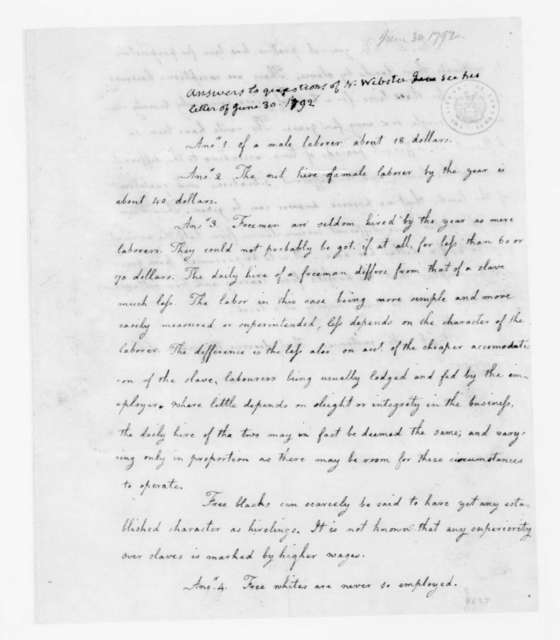 N. Webster, June 30, 1792. Answers and queries regarding laborers.