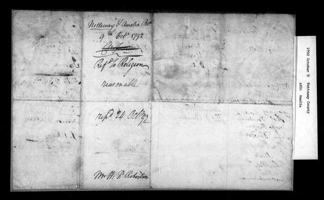 October 9, 1792, Nottoway, Amelia, To make identical the county line between Nottoway and Amelia, and the line dividing Nottoway and Rawleigh Parishes.