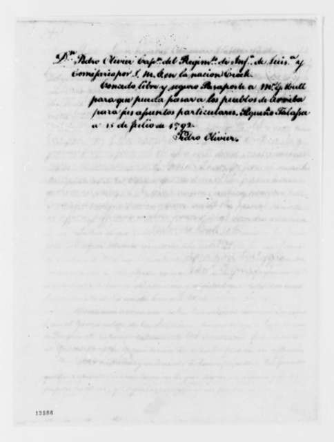 Pedro Oliver to George Hull, July 15, 1792