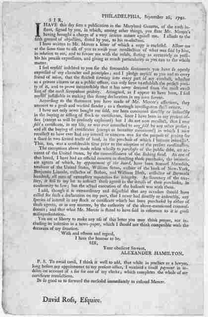 Philadelphia, September 26, 1792. Sir, I have this day seen a publication in the Maryland Gazette, of the 20th instant, signed by you, in which among other things you state Mr. Mercer's having brought a charge of a very serious nature against me