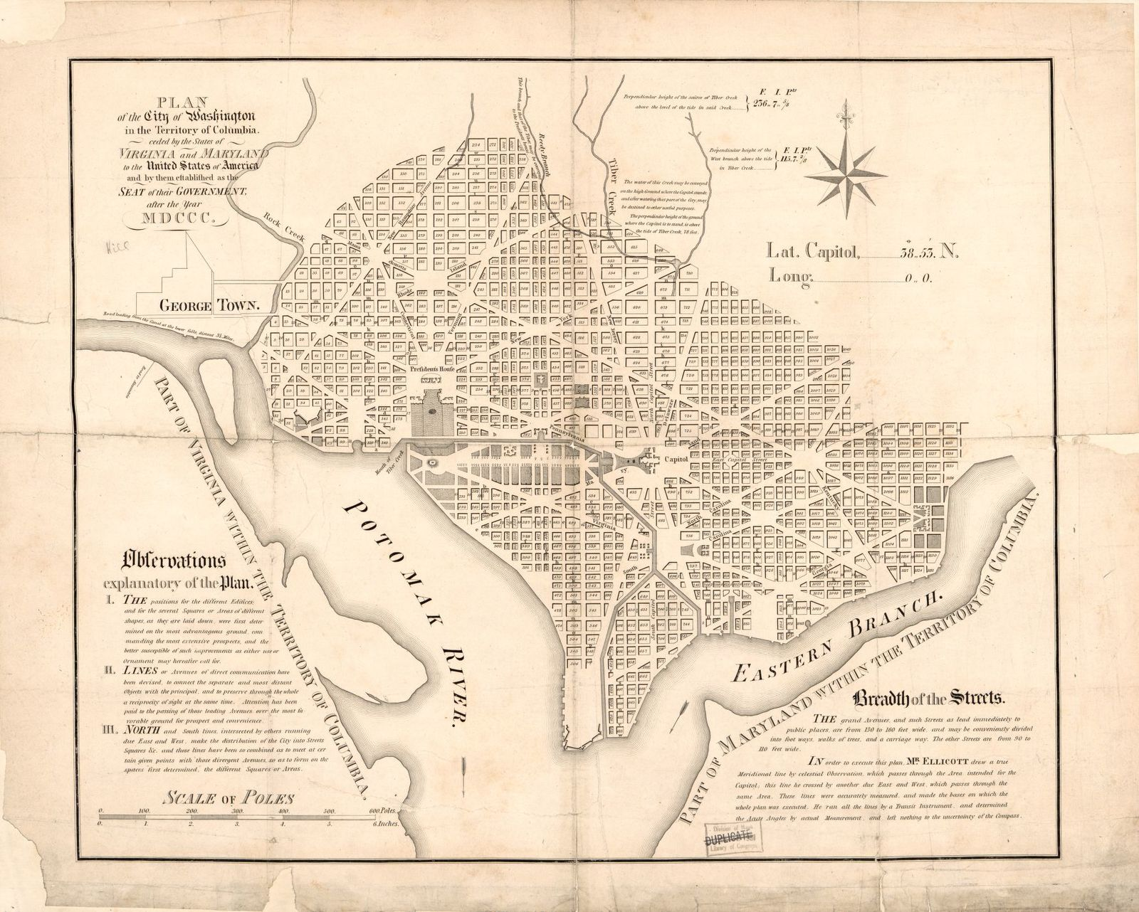 Map Of Virginia And Maryland Cities.Plan Of The City Of Washington In The Territory Of Columbia Ceded