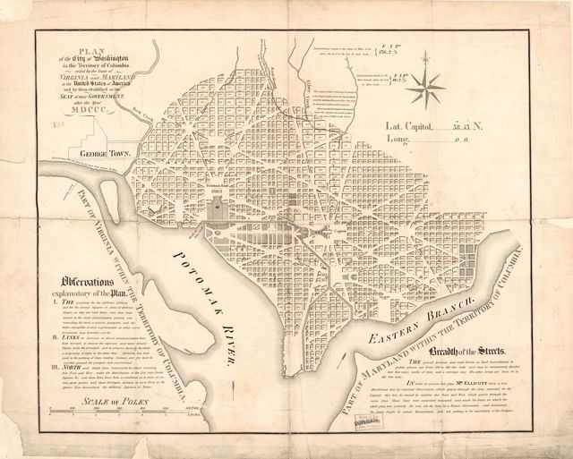 Plan of the city of Washington in the territory of Columbia : ceded by the states of Virginia and Maryland to the United States of America, and by them established as the seat of their government after the year MDCCC.