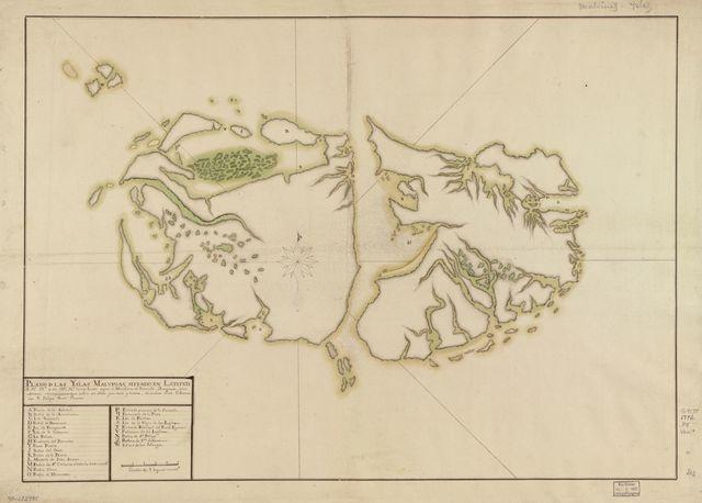 Plano de las Yslas Malvinas, situado en latitud S. 51⁰ 28⁰⁰ [?] y en 319⁰ 30ʺ [?] lamas leste segun el meridiano de Tenerife, arreglado a los ultimos reconocimientos edios en ellas por mar y tierra, de orden de su Gobernador D. Felipe Ruiz Puente.
