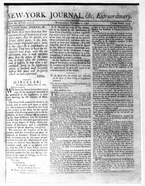 [Positive Photostat of the issue of the New York Journal Nov. 7, 1792 regarding Governor Clinton].