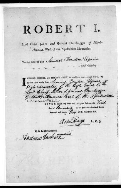 Robert Hays to Samuel Donelson, January 1, 1792