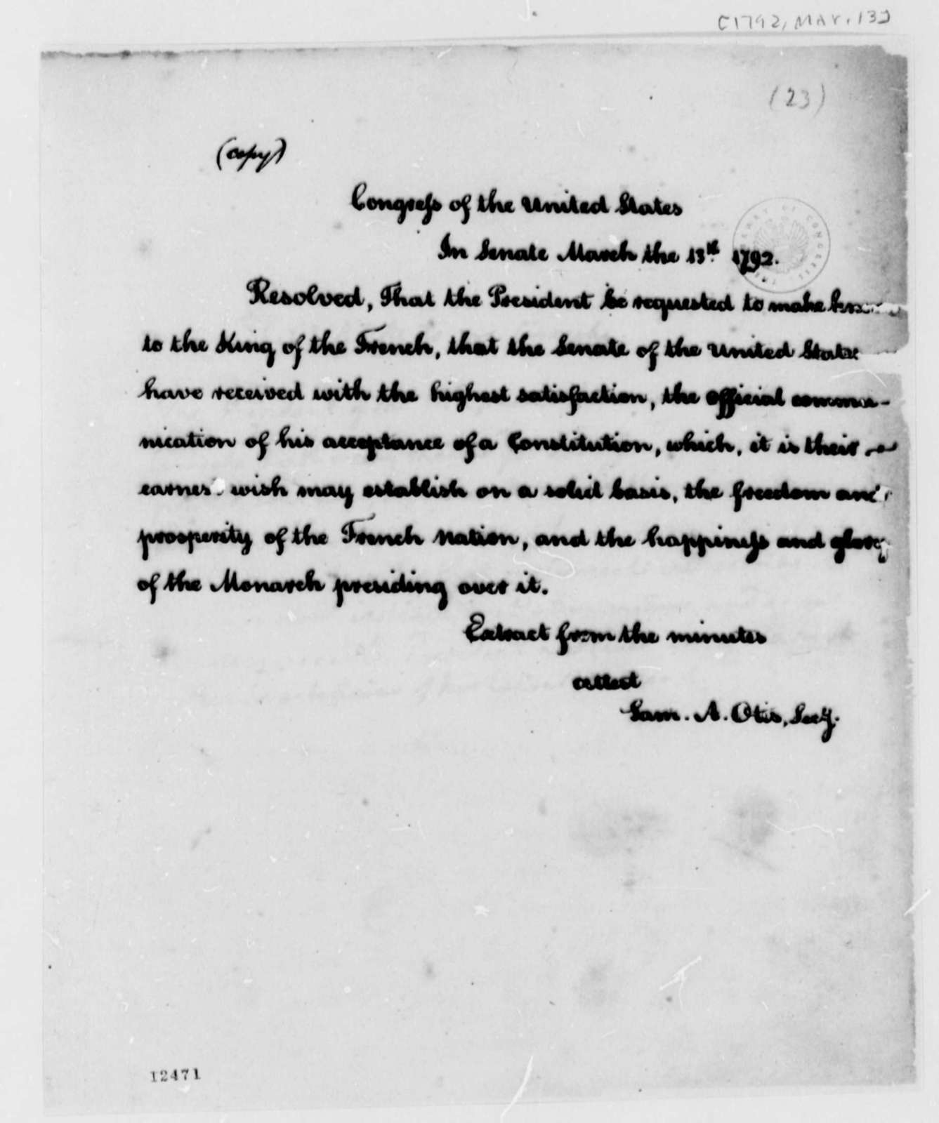 Senate Louis XVI of France, March 14, 1792, Constitution