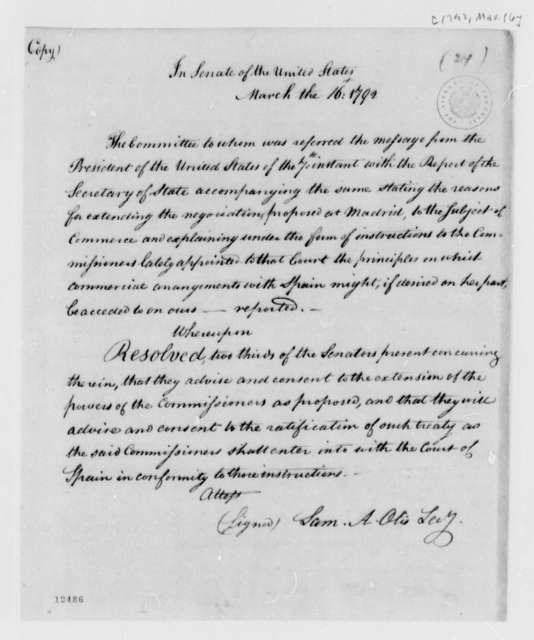 Senate, March 16, 1792, Spain Treaty Resolution