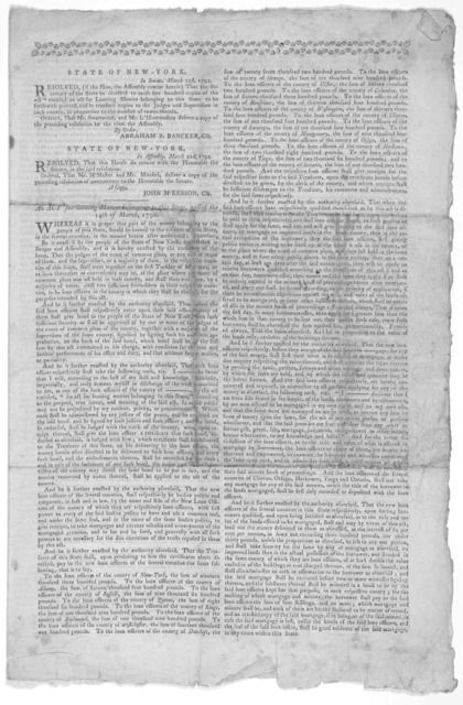 State of New-York ... An act for loaning monies belonging to this state, passed the 14th of March, 1792 ... Published by order of the Legislature. [New York] By Francis Childs and John Swaine, Printers to the State, M, DCCXCII.