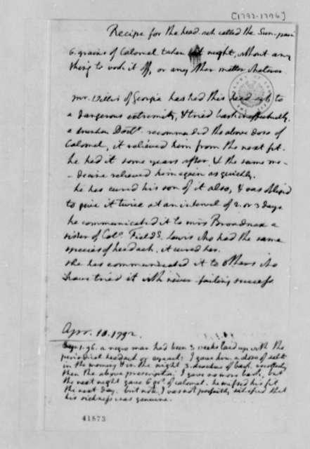 Thomas Jefferson, 1792-1796, Notes on Headache Remedy