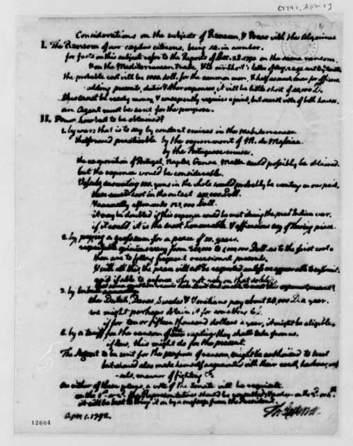 Thomas Jefferson, April 1, 1792, Considerations on Algerine Ransom