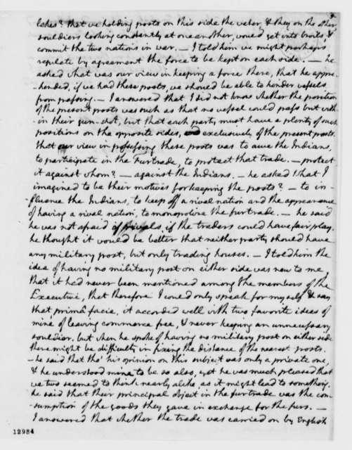 Thomas Jefferson, June 3, 1792, Notes on Conversation with George Hammond