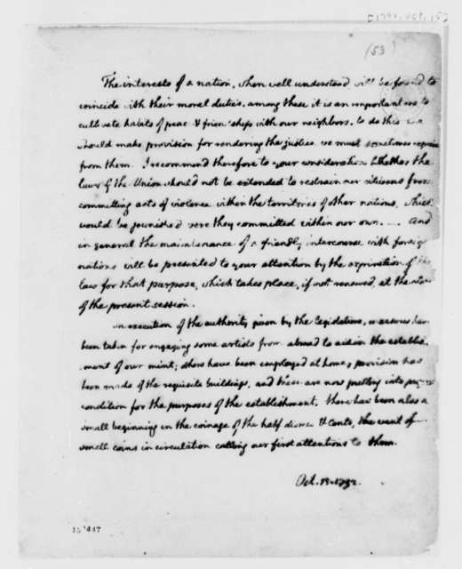"""Thomas Jefferson, October 15, 1792, On """"interests of a nation"""" for President's Message"""
