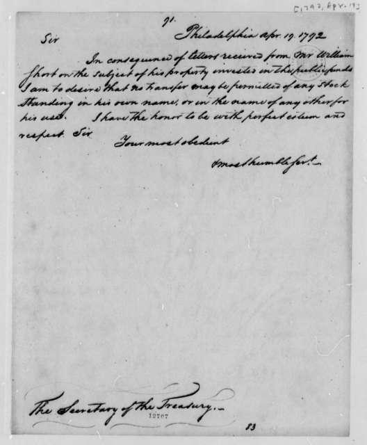 Thomas Jefferson to Alexander Hamilton, April 19, 1792