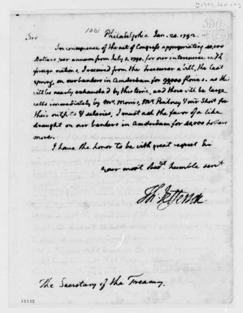 Thomas Jefferson to Alexander Hamilton, January 24, 1792