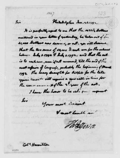 Thomas Jefferson to Alexander Hamilton, January 26, 1792