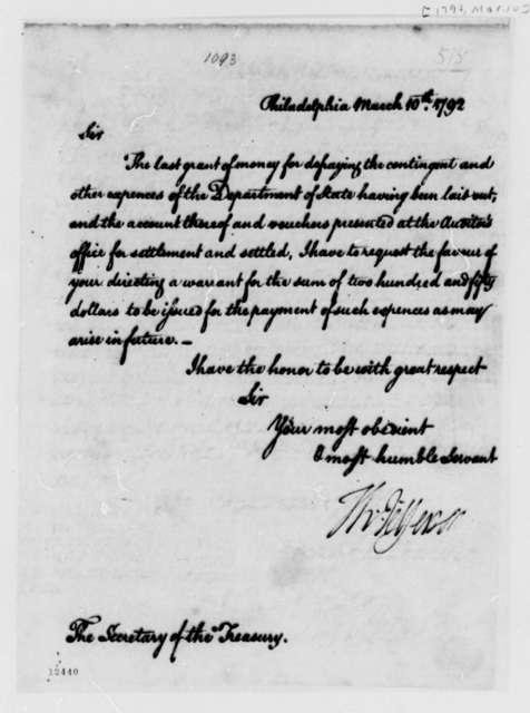 Thomas Jefferson to Alexander Hamilton, March 10, 1792
