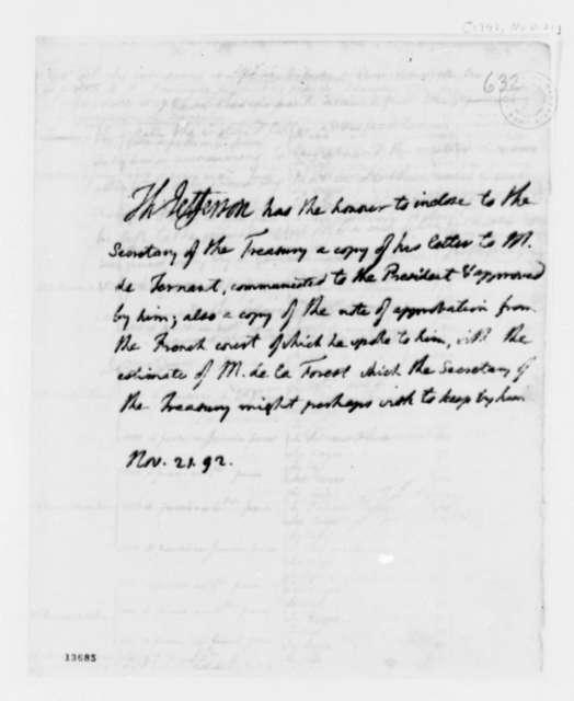 Thomas Jefferson to Alexander Hamilton, November 21, 1792