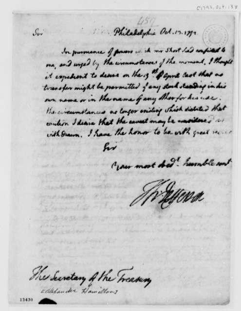Thomas Jefferson to Alexander Hamilton, October 13, 1792
