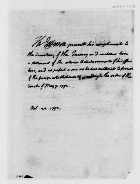 Thomas Jefferson to Alexander Hamilton, October 22, 1792