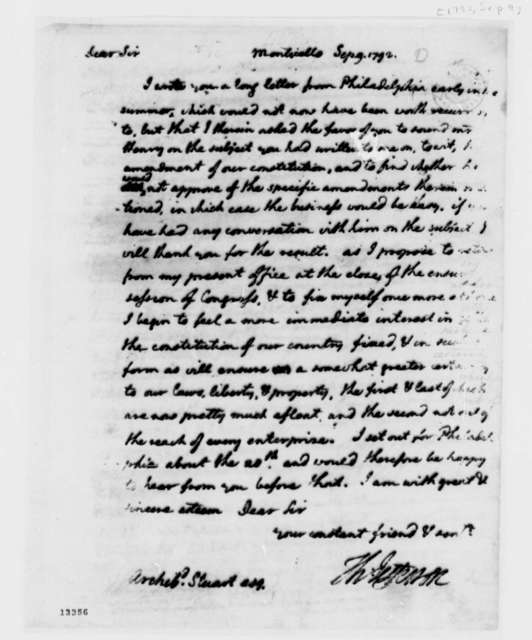 Thomas Jefferson to Archibald Stuart, September 9, 1792