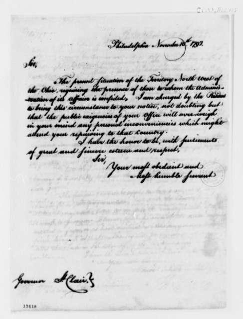 Thomas Jefferson to Arthur St. Clair, November 10, 1792