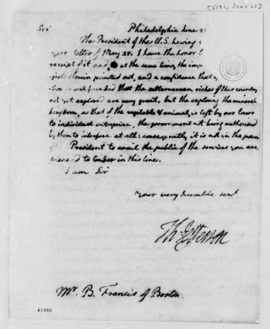 Thomas Jefferson to B. Francis, June 22, 1792, Mutilated