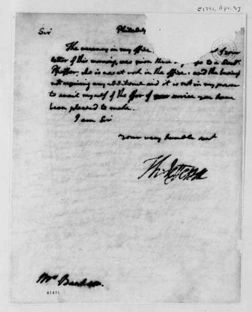 Thomas Jefferson to Benjamin Bankson, April 5, 1792, Mutilated