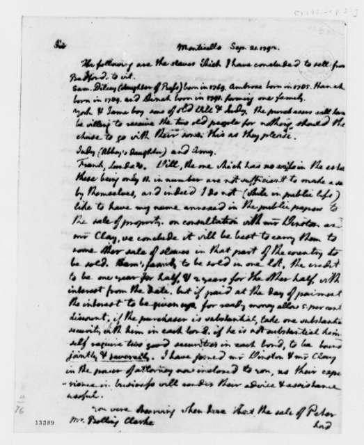 Thomas Jefferson to Bolling Clarke, September 21, 1792