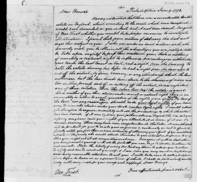 Thomas Jefferson to Browse Frist, June 9, 1792