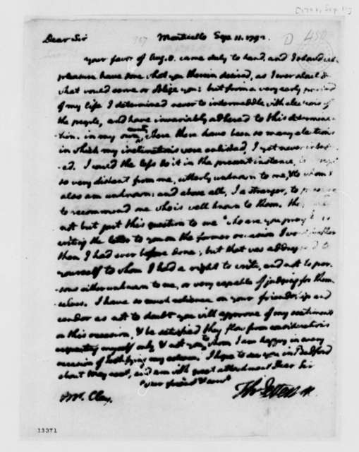 Thomas Jefferson to Charles Clay, September 11, 1792