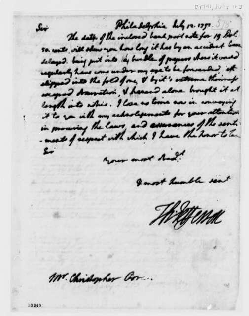 Thomas Jefferson to Christopher Gore, July 12, 1792