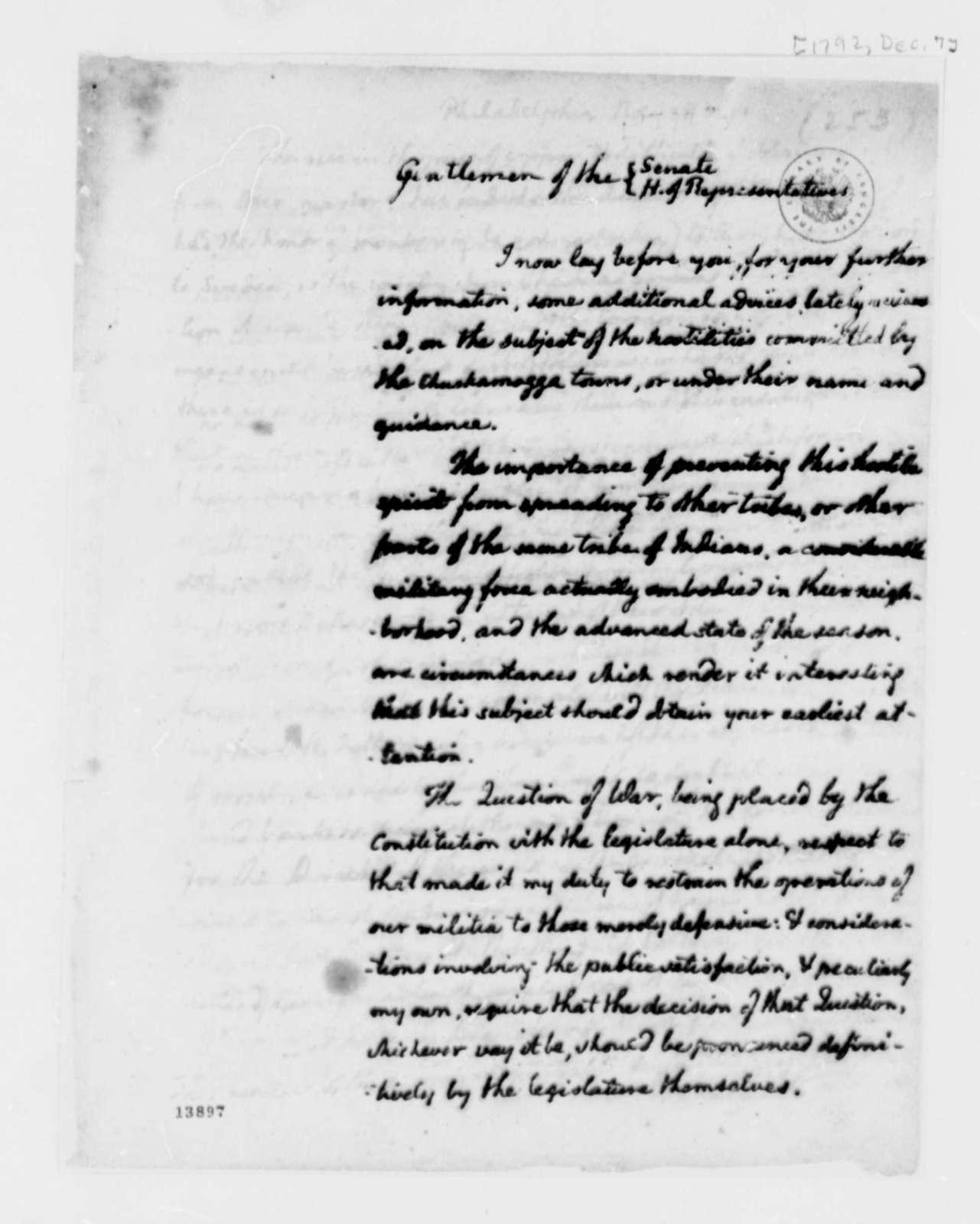 Thomas Jefferson to Congress, December 7, 1792