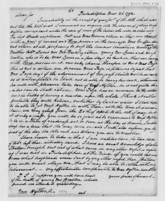 Thomas Jefferson to Daniel L. Hylton, March 26, 1792